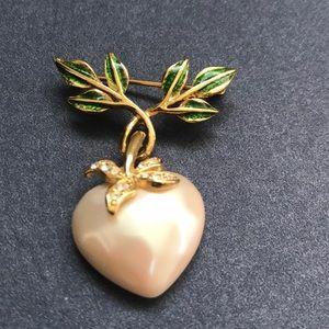 Joan Rivers Brooch Dangling Heart